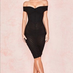 House of cb Camellia bandage shoulder dress small